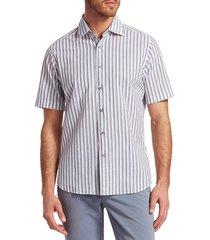 saks fifth avenue men's collection seersucker stripe woven cotton button-down shirt - white blue - size s