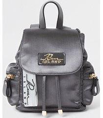river island womens grey satin drawstring backpack