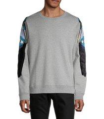 valentino men's embroidered wings sweatshirt - grigio melange - size s