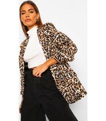 luipaardprint blazer met geplooide mouwen, black