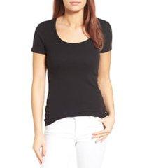 women's caslon short sleeve scoop neck tee, size xx-small - black