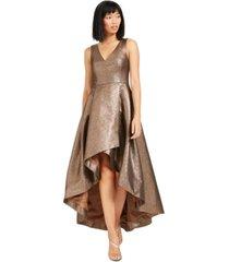 calvin klein metallic high-low ball gown