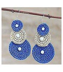 crocheted dangle earrings, 'triple disc in blue' (india)