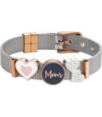 "two-tone crystal ""mom"" adjustable mesh bracelet with fine silver plated charms"
