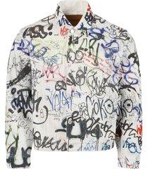 graffiti print denim jacket, white