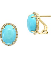 14k yellow gold turquoise oval earrings