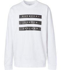 burberry tape-print sweatshirt - white
