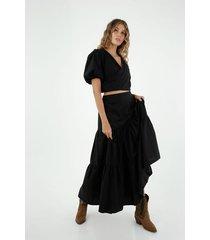falda de mujer, diseño maxi de tiro alto con cortes y recogido, color negro