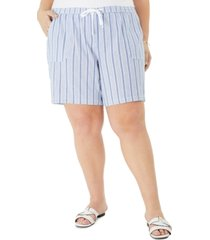 karen scott plus size cotton pull-on striped shorts, created for macy's