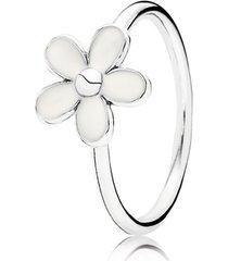 anel de prata e esmalte branca margarida