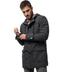 abrigo largo con capucha gris soviet