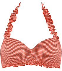 côte d'azur plunge balcony bikini top | wired padded red and white - 38ddd/f