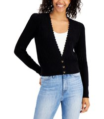 charter club open-knit scalloped-trim cardigan sweater, created for macy's