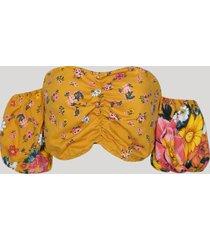 top cropped feminino estampado floral ombro a ombro manga curta amarelo