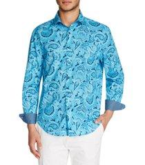 tallia men's slim-fit paisley shirt