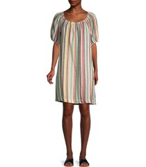 beach lunch lounge women's ceyda striped linen & cotton dress - multi stripe - size xs