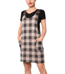 planet gold juniors' faux-leather strap plaid dress