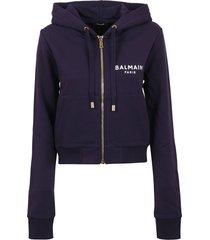 balmain short zipped printed logo detail hoodie - eco design