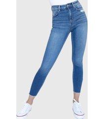 jeans crop skinny tiro alto orlando azul racaventura