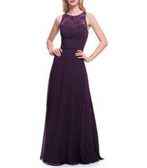 women's #levkoff lace bodice chiffon a-line gown, size 14 - purple