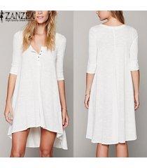 zanzea vestir ocasional de las mujeres suelta de algodón elegantes botones de cuello en v manga de la mitad más vestidos asimétricos (blanco) -blanco