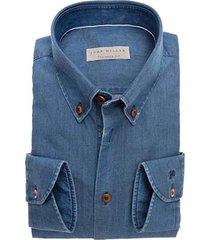 john miller middenblauw overhemd