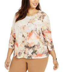 alfred dunner plus size first frost floral-print textured knit top