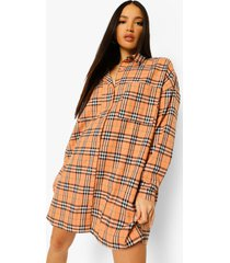 tall oversized geruite blouse jurk, orange