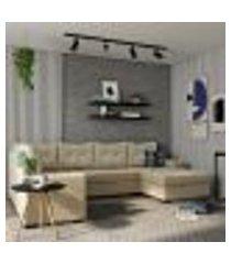 sofá de canto 6 lugares com chaise direito paris suede animale cinza