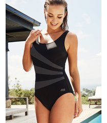 black modern chic stripe sandon scoopback one-piece swimsuit