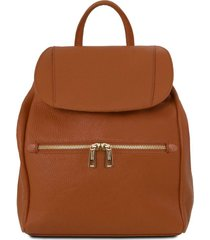 tuscany leather tl141697 tl bag - zaino donna in pelle morbida cognac