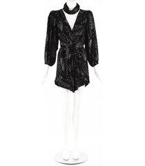 isabel marant vienna black metallic crepe mini dress black, metallic sz: xs