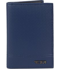tumi women's multi-window id leather card case - textured navy