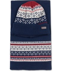 barbour men's fairisle beanie and scarf gift set