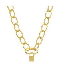 colar maxi elos mosquetáo com cadeado folheado a ouro 18k