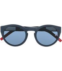 tommy jeans wayfarer-frame logo-print sunglasses - blue