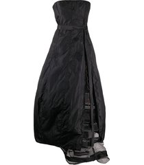 gianfranco ferré pre-owned 1990s strapless gathered full gown - black