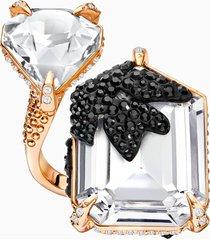 anello cocktail manor, multicolore, placcato oro rosa