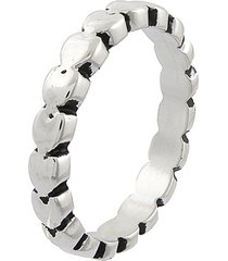 anel narcizza gominhos com detalhes escuros banhado no ródio branco - tricae