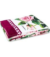 dolce & gabbana toalha de praia tropical rose com estampa - rosa