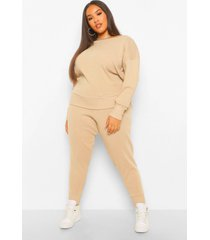 plus slash neck sweater and jogger set, stone