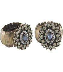 anel armazem rr bijoux regulável cristal ouro velho feminino