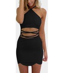 halter sexy negro cuello y cintura recortada mini vestido