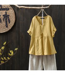 zanzea para mujer de algodón de cuello v tapas flojas de la blusa de las señoras camisetas ocasionales más el tamaño (no incluir los pantalones) -amarillo