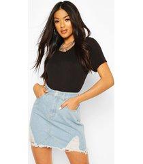 versleten denim mom shorts met hoge taille, lichtblauw