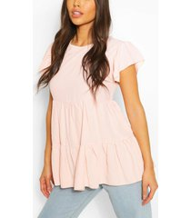 frill sleeve smock top, blush