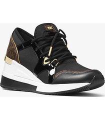 mk sneaker liv in materiale misto con logo - nero (nero) - michael kors