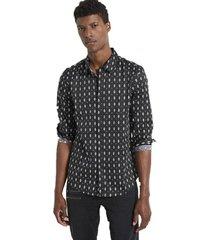 camisa ls luxe aztec diamond shirt negro guess