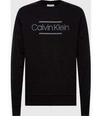 polerón calvin klein mix media logo sweatshirt negro - calce regular