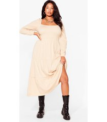 womens tiers to the good times plus puff maxi dress - caramel